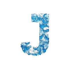 Alphabet letter J uppercase. Liquid font made of blue transparent water. 3D render isolated on white background.