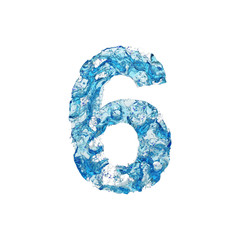 Alphabet number 6. Liquid font made of blue transparent water. 3D render isolated on white background.