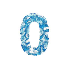 Alphabet number 0. Liquid font made of blue transparent water. 3D render isolated on white background.