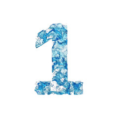 Alphabet number 1. Liquid font made of blue transparent water. 3D render isolated on white background.