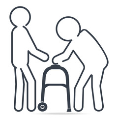 Man helps elderly man patient with a walker, simple line icon illustration