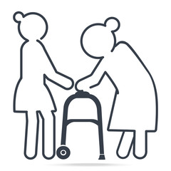 Woman helps elderly woman patient with walker, simple line icon illustration