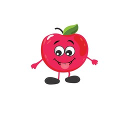 cute apple character vector illustration