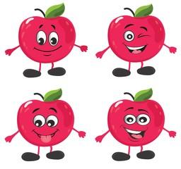 cute apple character set. vector illustration