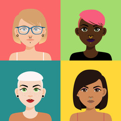 Set of multicultural girl portraits with piercing on colored backgrounds. Diverse women with different type of nose, lips, ear piercing, haircuts and hair color.