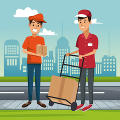 Courier with box on handtruck vector illustration graphic design