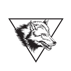 Tattoo design sketch with wolf head.
