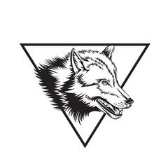 Tattoo design sketch with wolf head.