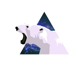 Abstract poster print with polar bear.