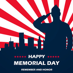 Memorial Day - Remember and honor. With USA flag. Vector illustration EPS10