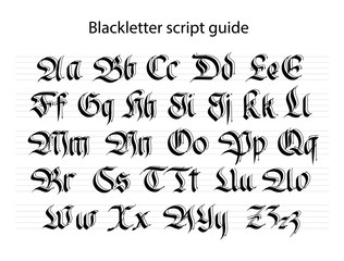 Calligraphy practise guide.