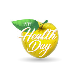 World Health day poster with realistic apple fruit and text.