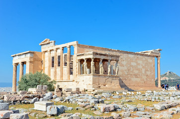Ruins of the Temple of Erechtheion  in the Acropolis.