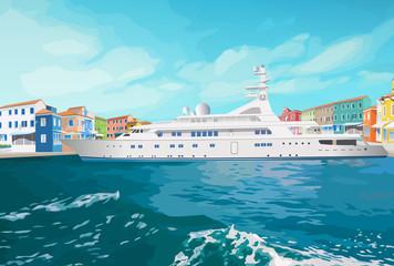 Sea ship standing