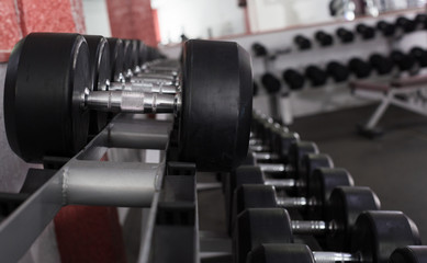 Dumbbell weights on rack in gym