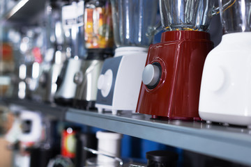 Assortment of kitchen appliances at household store
