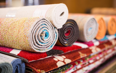 Traditional  colorful carpets in carpet shop, nobody