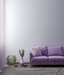 Mock up poster frame in hipster interior background in pink colors, 3D render, 3D illustration