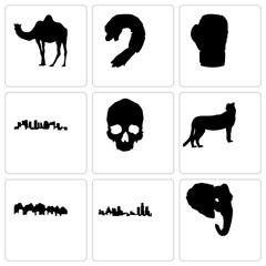 Set Of 9 simple editable icons such as elephant head, michigan state, utah