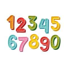 Cute Handdrawn numbers set for kids made in vector. Doodle math elements from 0 to 9. Isolated characters.
