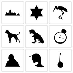 Set Of 9 simple editable icons such as banjo, french horn, gandhi