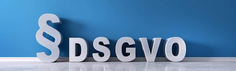 Paragraph und DSGVO vor blauer Wand
