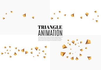 Yellow realistic triangles and golden light effects. 3D effect.motion of flying triangles. Vector illustration.animation