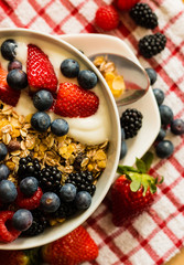 Healthy breakfast concept with oat flakes on tablecloth