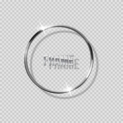 Silver ring with shadow isolated on transparent background. Vector silver frame.