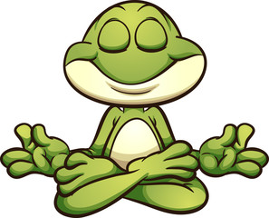 Meditating cartoon frog in lotus flower pose. Vector clip art illustration with simple gradients. All in a single layer.