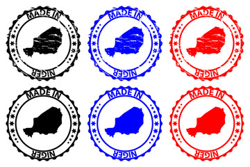Made in Niger - rubber stamp - vector, Niger map pattern - black, blue and red