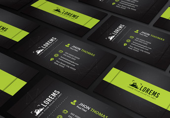 Business Card Layout with Lime Green Accents