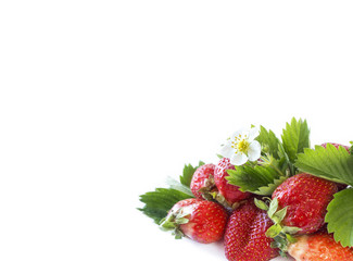 Various fresh summer fruits. Ripe strawberries on white background. Strawberries with copy space for text. Background berries.