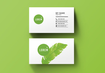 Business Card Layout with Green Leaf Illustration