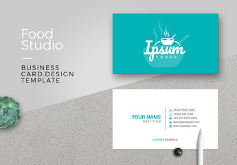 Business Card Layout with Cooking Pot Illustration