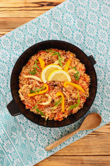 Seafood paella in a frying pan
