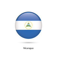 Nicaragua flag - round glossy button. Vector Illustration