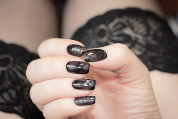 Manicure is similar to black stockings