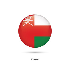 Oman flag - round glossy button. Vector Illustration