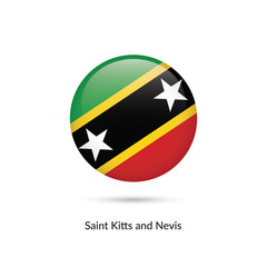 Saint Kitts and Nevis flag - round glossy button. Vector Illustration