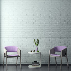 Mock up poster frame in hipster interior background in pink colors and brick wall, 3D render, 3D illustration