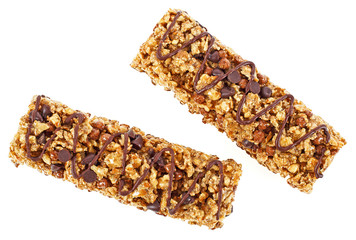 Two granola bars with cereals and chocolate isolated on white background