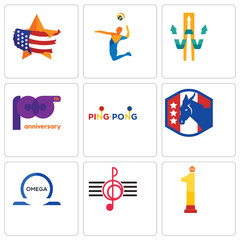 Set Of 9 simple editable icons such as no.1, treble clef, omega