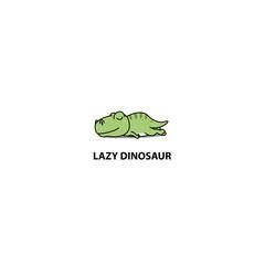 Lazy dinosaur, T- rex sleeping icon, logo design, vector illustration