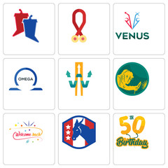 Set Of 9 simple editable icons such as 50th birthday, democratic party, welcome back