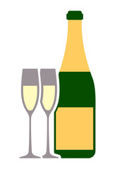 Bottle of champagne wine and pair of glasses colorful flat icon for your design.