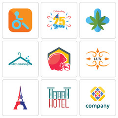 Set Of 9 simple editable icons such as free, hotel, eiffel tower