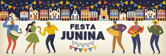 Festa Junina Brazil June Festival. Vector templates. Design element for card, banner, and other use.