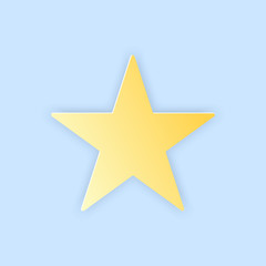 Vector illustration, yellow simple star in papercut style with transparent shadows isolated on blue background