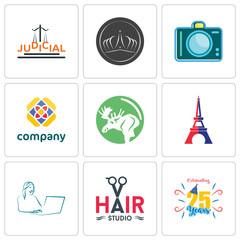 Set Of 9 simple editable icons such as celebrating 25 years, hair studio, secretary